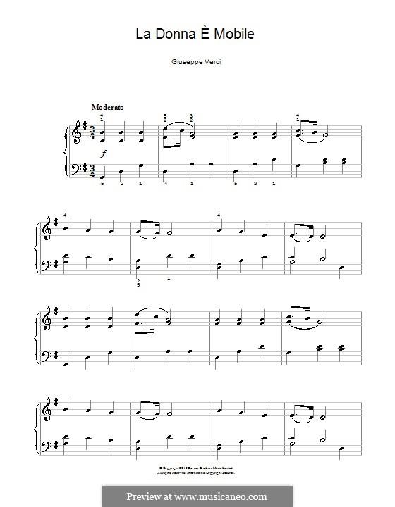La donna è mobile (Over the Summer Sea): Für Klavier by Giuseppe Verdi