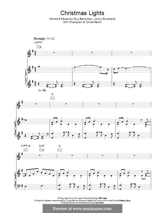 Christmas Lights (Coldplay): Für Stimme und Klavier (oder Gitarre) by Chris Martin, Guy Berryman, Jonny Buckland, Will Champion