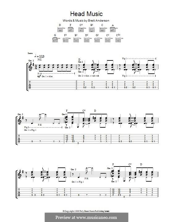 Head Music (Suede): Für Gitarre mit Tab by Brett Anderson