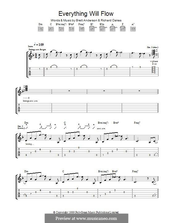 Everything Will Flow (Suede): Für Gitarre mit Tab by Brett Anderson, Richard Oakes