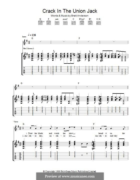 Crack in the Union Jack (Suede): Für Gitarre mit Tab by Brett Anderson