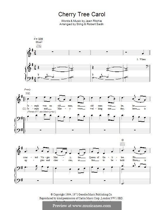 Cherry Tree Carol: Für Stimme und Klavier (oder Gitarre) by Jean Ritchie