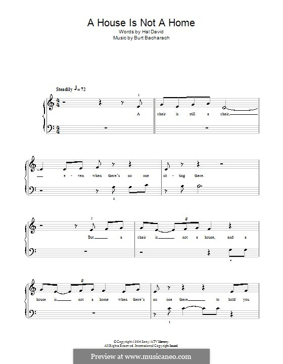 A House Is Not a Home: Für Klavier, leicht by Burt Bacharach