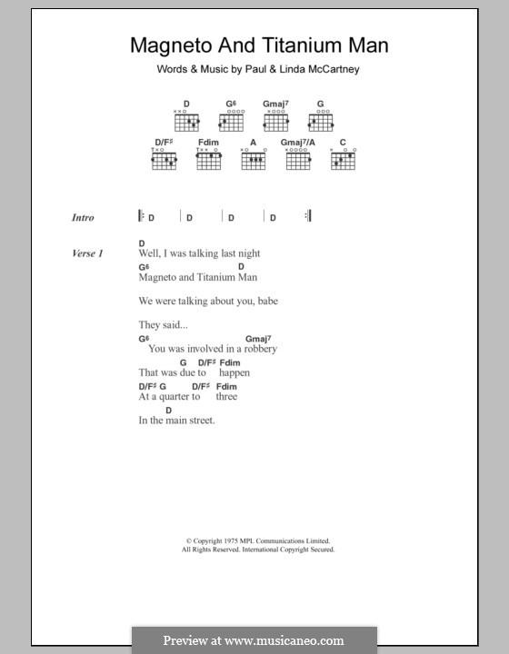 Magneto and Titanium Man (Wings): Text und Akkorde by Linda McCartney, Paul McCartney
