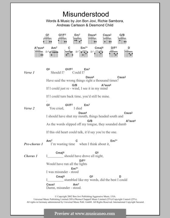 Misunderstood (Bon Jovi): Text und Akkorde by Andreas Carlsson, Desmond Child, Jon Bon Jovi, Richie Sambora