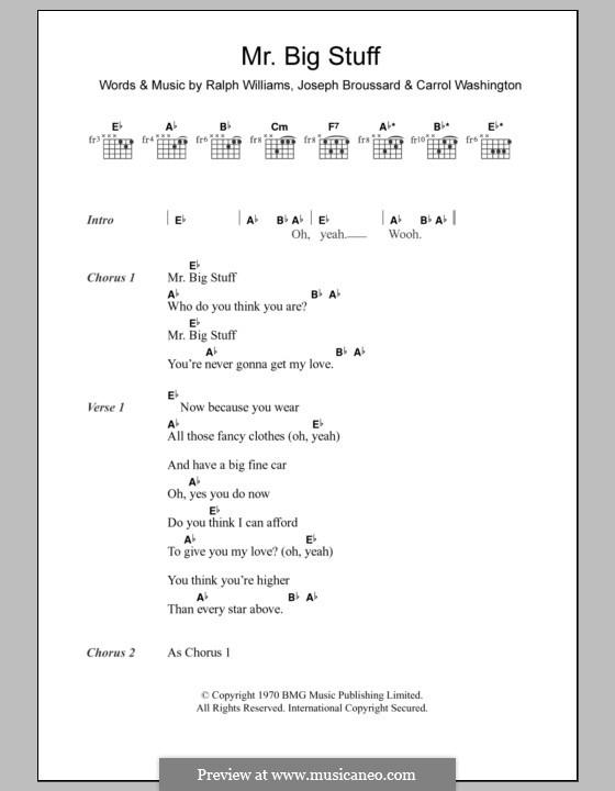 Mr. Big Stuff (Jean Knight): Text und Akkorde (Jean Knight) by Ralph Vaughan Williams, Carrol Washington, Joseph Broussard