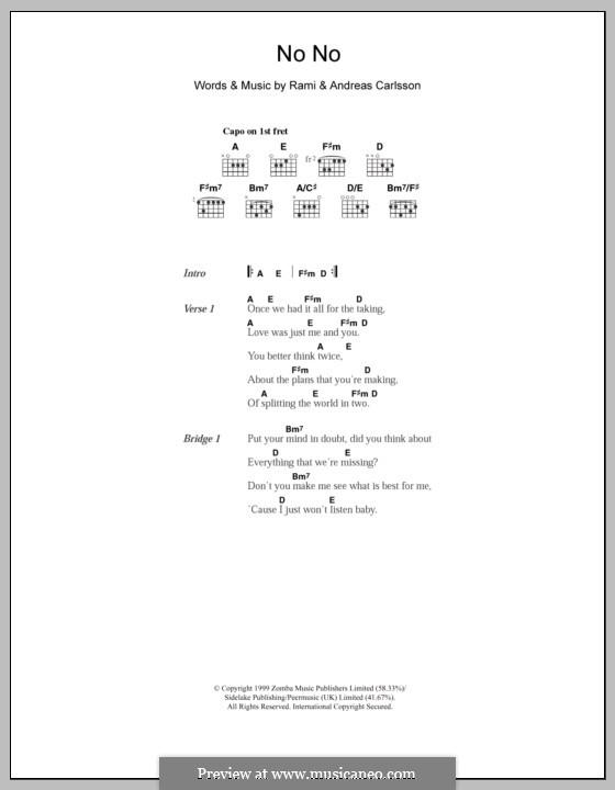 No No (Westlife): Text und Akkorde by Andreas Carlsson, Rami Yacoub