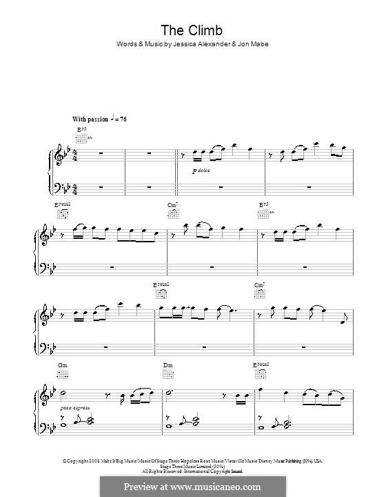 The Climb: Einfache Noten für Klavier (B-Dur) by Jessi Alexander, Jon Mabe