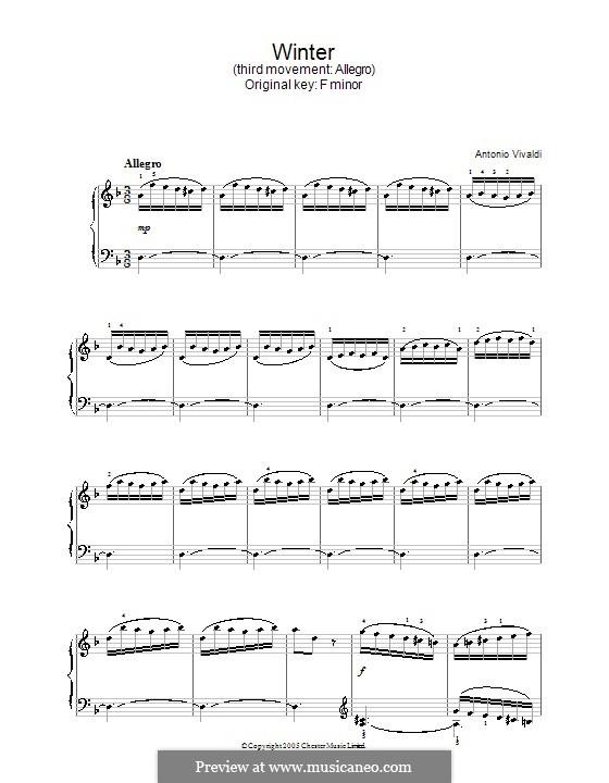 Violinkonzert Nr.4 in f-Moll 'Winter', RV 297: Teil III. Bearbeitung für Klavier by Antonio Vivaldi