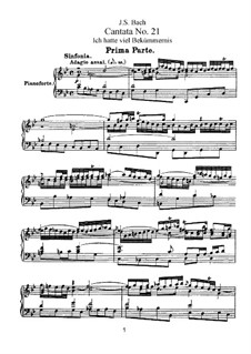 Ich hatte viel Bekümmernis, BWV 21: Klavierauszug mit Singstimmen by Johann Sebastian Bach