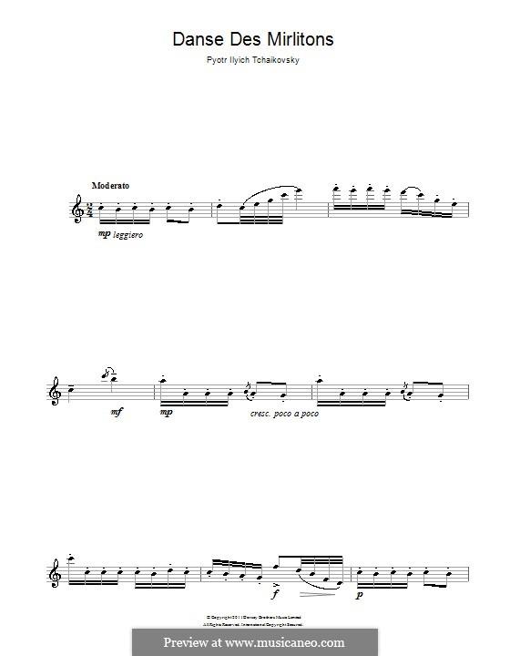 Nr.7 Tanz der Mirlitons: Für Flöte by Pjotr Tschaikowski