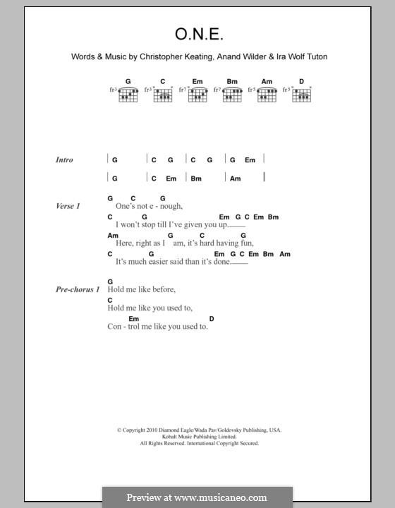 O.N.E. (Yeasayer): Text und Akkorde by Anand Wilder, Christopher Keating, Ira Wolf Tuton