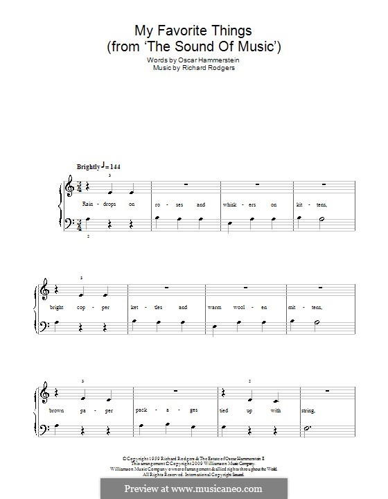 My Favorite Things (from The Sound of Music), for Piano: Version für leichtes Klavier (A Minor) by Richard Rodgers