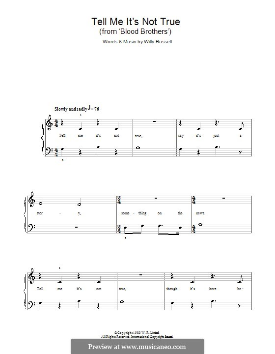 Tell Me It's not True (from Blood Brothers): Einfache Noten für Klavier by Willy Russell