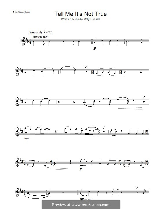 Tell Me It's not True (from Blood Brothers): Für Altsaxophon by Willy Russell