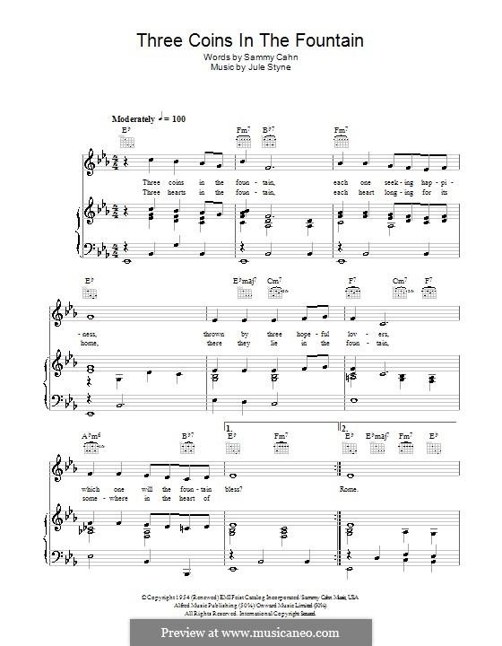 Three Coins in the Fountain (Frank Sinatra): Für Stimme und Klavier (oder Gitarre) by Jule Styne