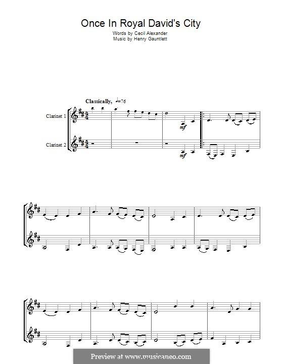 Einst in der königlichen Stadt David: Für Klarinette by Henry John Gauntlett