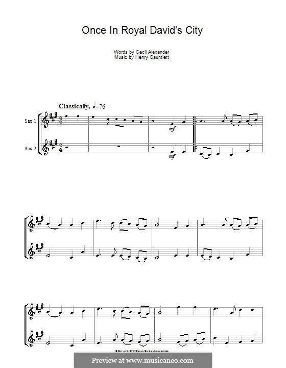 Einst in der königlichen Stadt David: Für Altsaxophon by Henry John Gauntlett