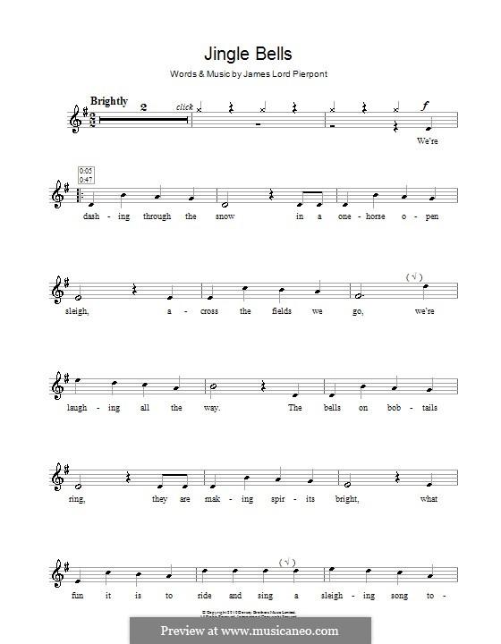 Jingle Bells (Printable scores): Für Blockflöte by James Lord Pierpont