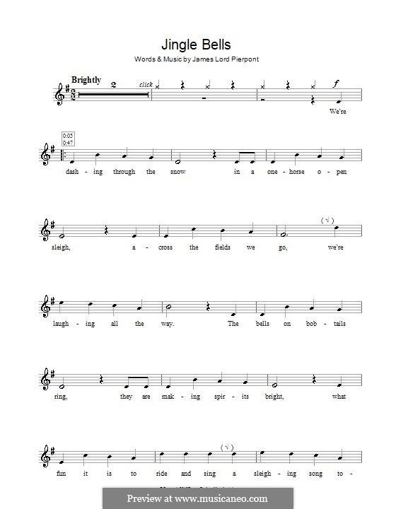 Jingle Bells (Printable scores): Für Flöte by James Lord Pierpont