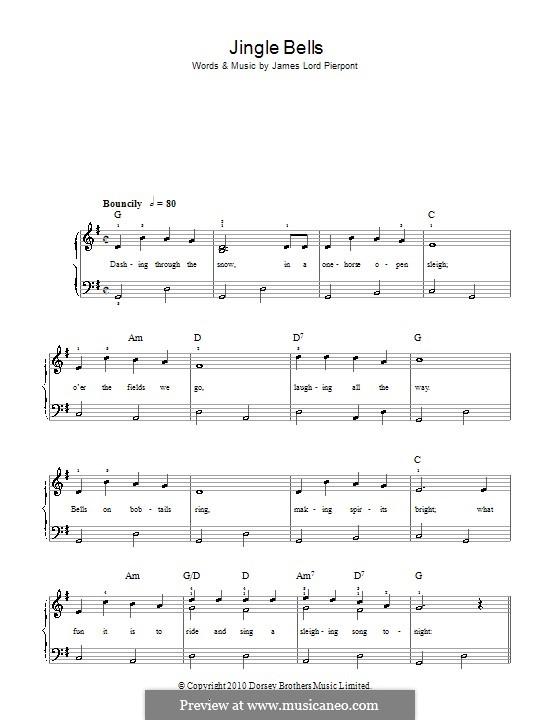 Jingle Bells, für Klavier: Version für leichtes Klavier (with lyrics) by James Lord Pierpont