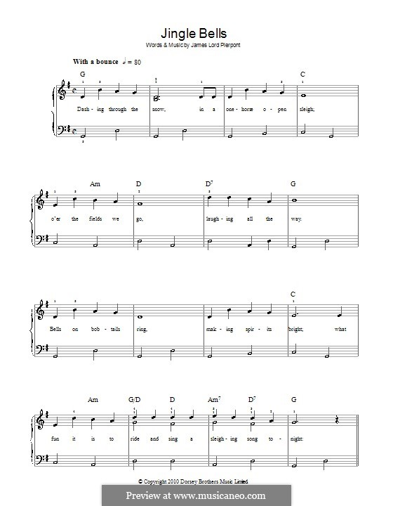 Jingle Bells, for Piano: Easy version by James Lord Pierpont