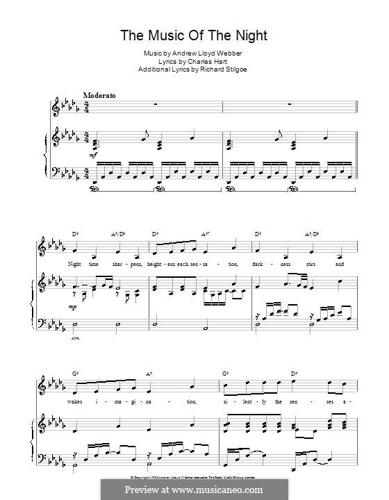 The Music of the Night: Für Stimme und Klavier by Andrew Lloyd Webber