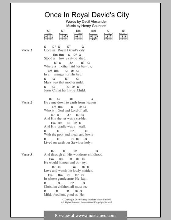 Einst in der königlichen Stadt David: Text und Akkorde by Henry John Gauntlett