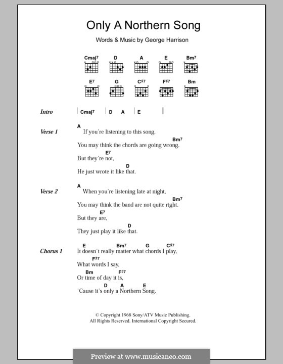 Only a Northern Song (The Beatles): Text und Akkorde by George Harrison