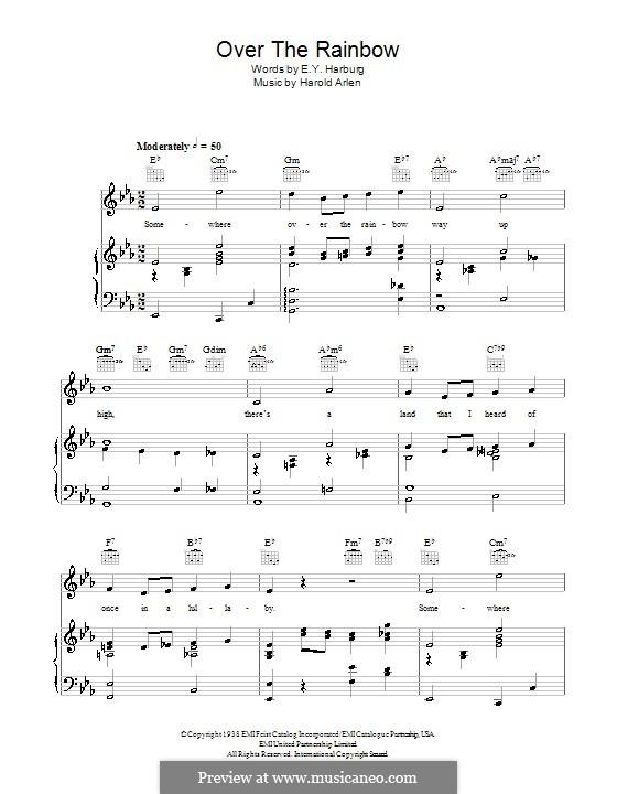 Over the Rainbow (from The Wizard of Oz): Für Stimme mit Klavier oder Gitarre (Judy Garland) by Harold Arlen