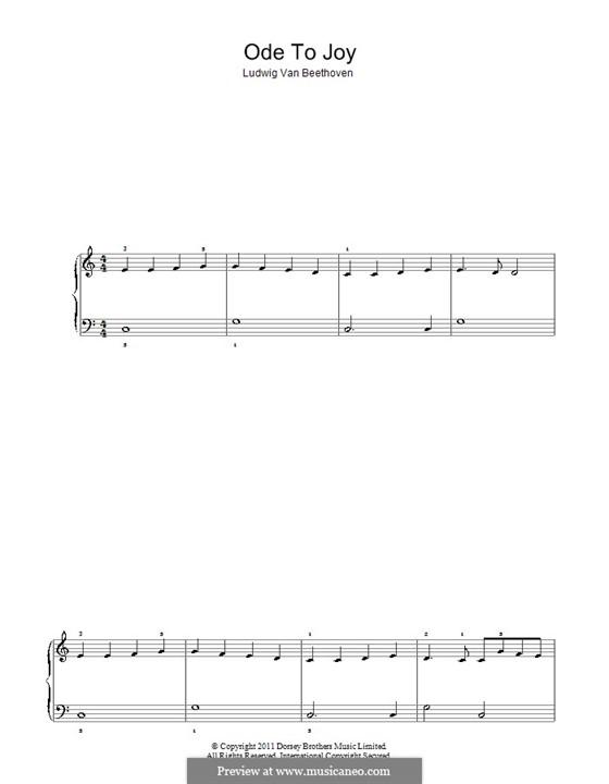 Ode an die Freude, für Klavier: Sehr leichte Fassung by Ludwig van Beethoven