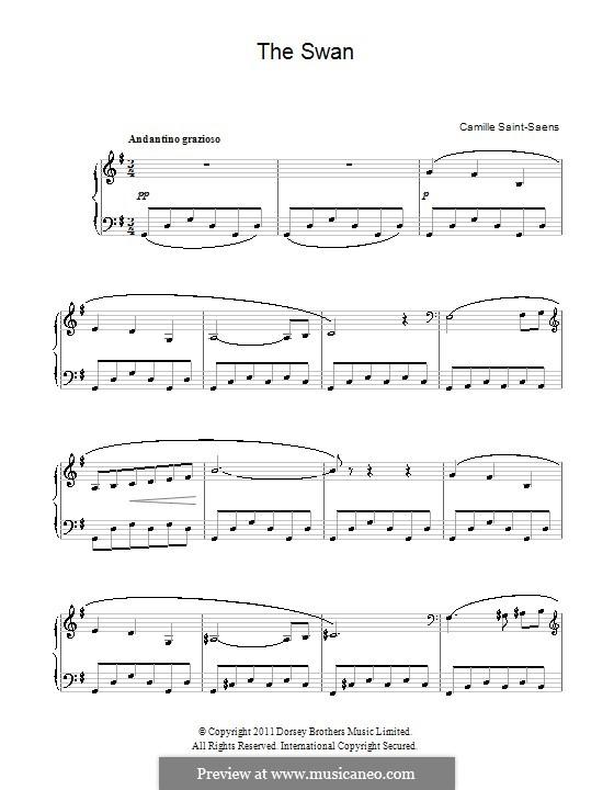 Der Schwan: Einfache Noten für Klavier by Camille Saint-Saëns