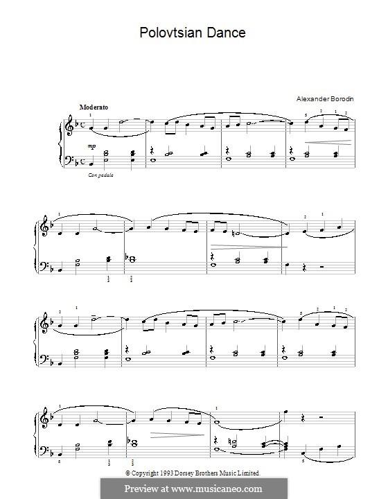 Die Polowetzer Tänze: Einfache Noten für Klavier (Fragment) by Alexander Porfiryevich Borodin