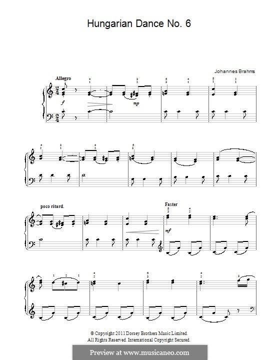 Tanz Nr.6 in Des-Dur: Für Klavier by Johannes Brahms