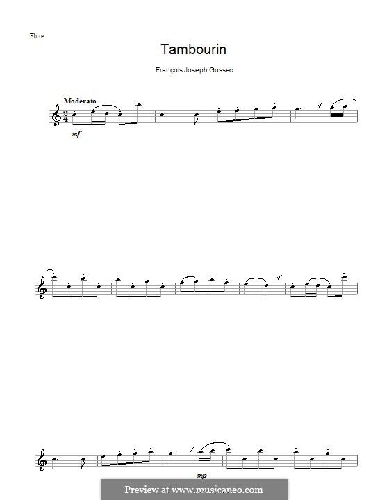 Tambourin in F-Dur: Für Flöte by François Joseph Gossec