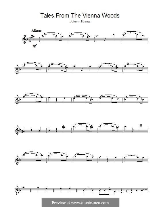 Geschichten aus dem Wienerwald, Op.325: Für Flöte by Johann Strauss (Sohn)
