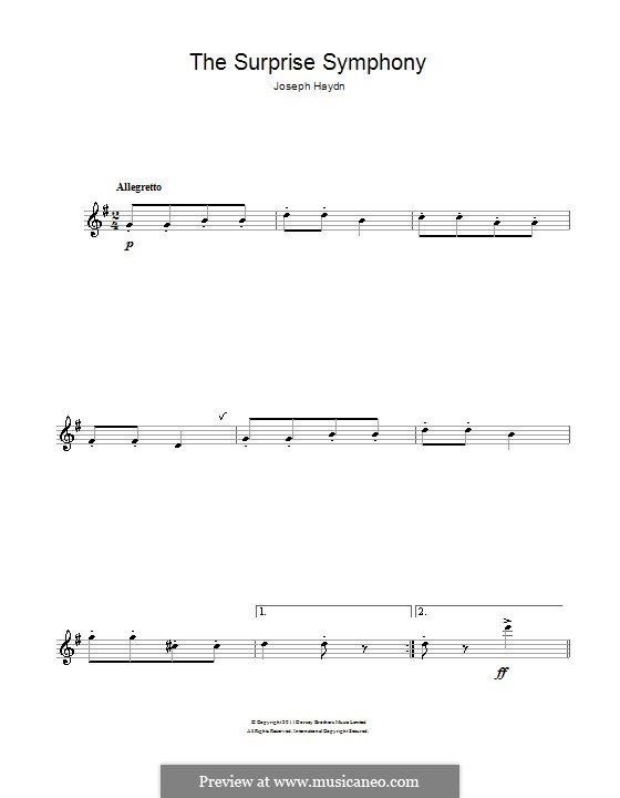 Teil II: Theme. Version for flute by Joseph Haydn