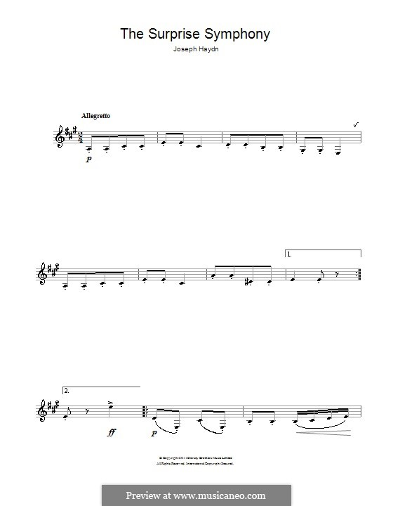 Teil II: Theme. Version for clarinet by Joseph Haydn