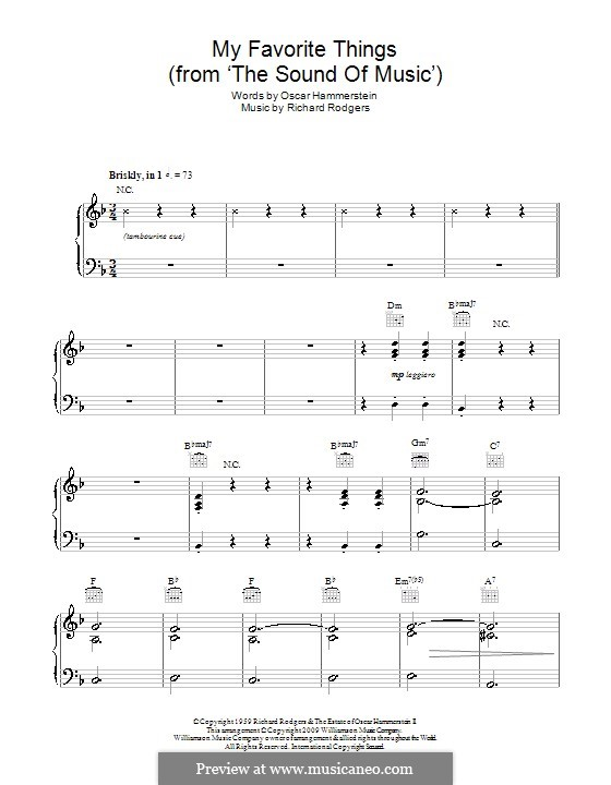 My Favorite Things (from The Sound of Music), for Piano: Version für leichtes Klavier (D Minor) by Richard Rodgers