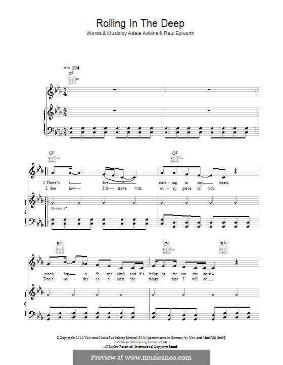 Rolling in the Deep: Für Stimme und Klavier (oder Gitarre) by Adele, Paul Epworth