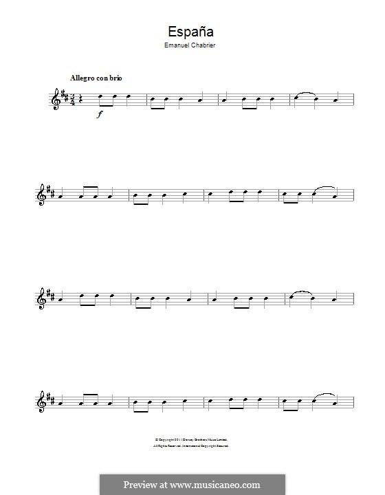 España: Theme. Version for alto saxophone by Emmanuel Chabrier