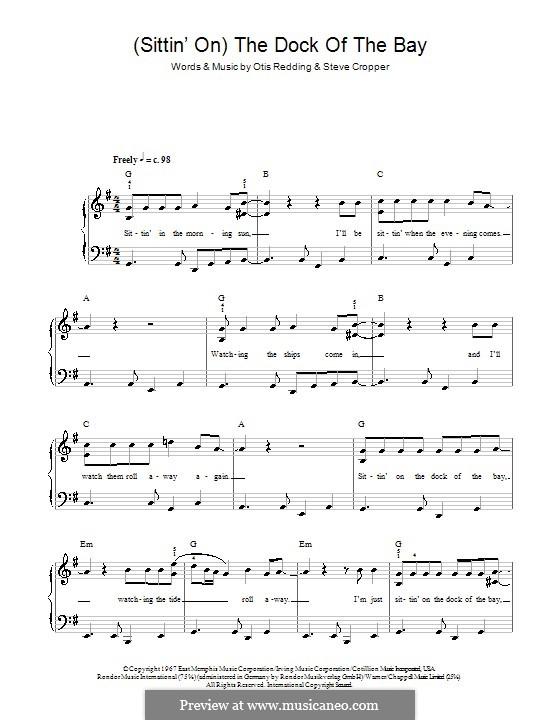 (Sittin' On) The Dock of the Bay: Einfache Noten für Klavier by Otis Redding, Steve Cropper