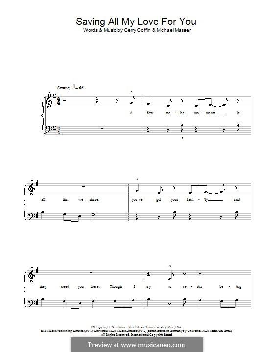 Saving All My Love for You (Whitney Houston): Für Klavier, leicht by Gerry Goffin, Michael Masser