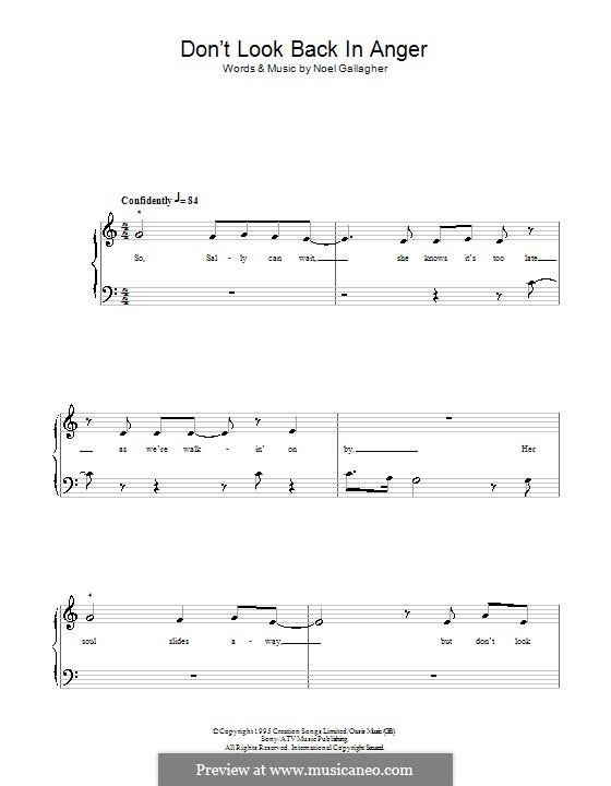 Don't Look Back in Anger (Oasis): Für Klavier, leicht by Noel Gallagher