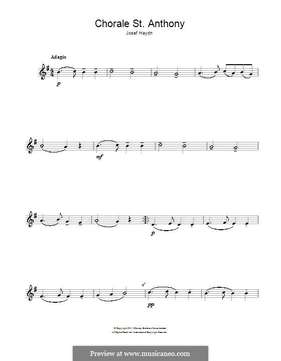 Variationen über ein Thema von Haydn, Op.56a: Theme. Version for alto saxophone by Johannes Brahms