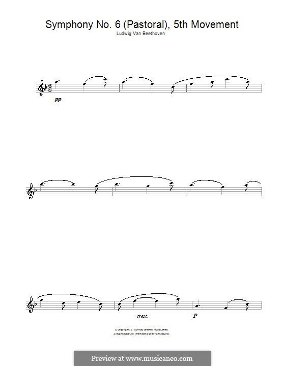 Teil V. Der Hirtengesang - Frohe, dankbare Gefühle nach dem Sturm: Thema. Version für Flöte by Ludwig van Beethoven
