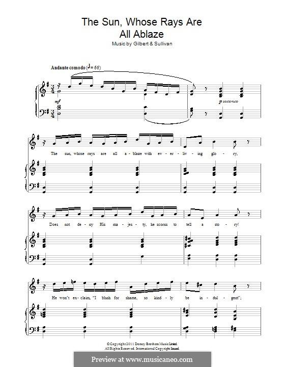 Akt II, No.2 The Sun, Whose Rays are All Ablaze: Für Stimme und Klavier by Arthur Sullivan