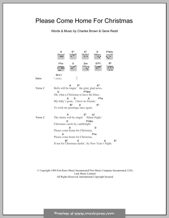 Please Come Home for Christmas (The Eagles): Text und Akkorde by Charles Brown, Gene Redd