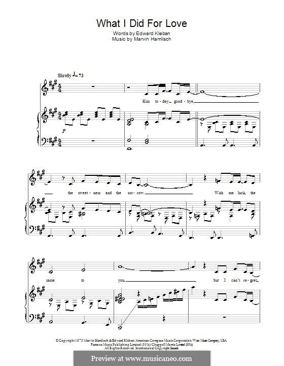 What I Did for Love (Priscilla Lopez): Für Stimme und Klavier by Marvin Hamlisch