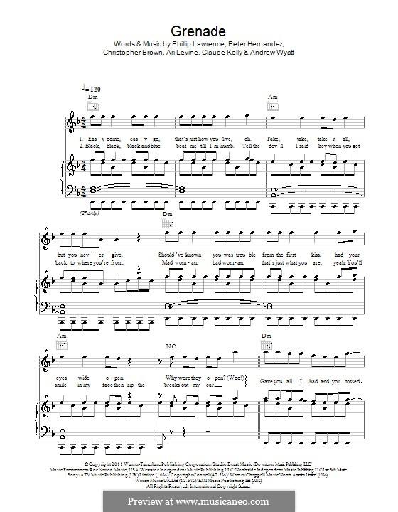 Grenade: Für Stimme und Klavier (oder Gitarre) by Andrew Wyatt, Ari Levine, Christopher Steven Brown, Claude Kelly, Bruno Mars, Philip Lawrence